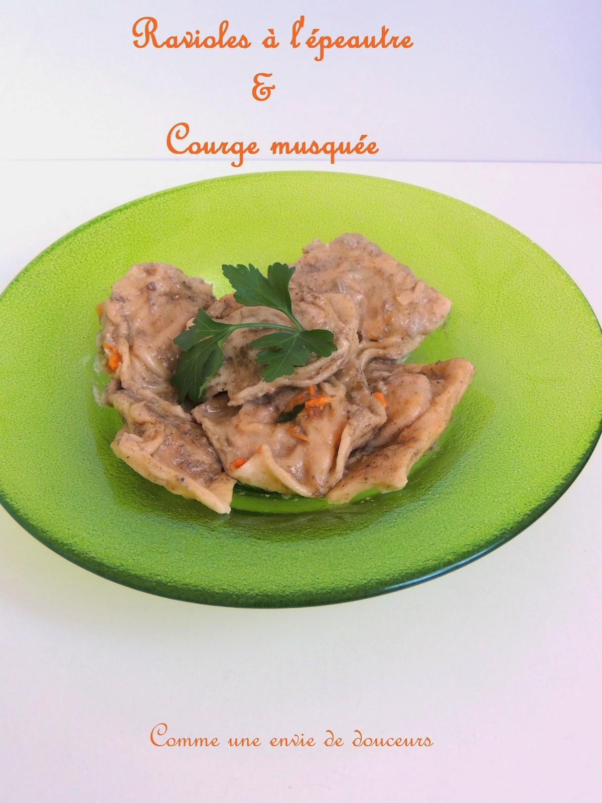 Ravioles de courges, épeautre & champignons – Spelt & butternut squash stuffed pasta, mushroom sauce