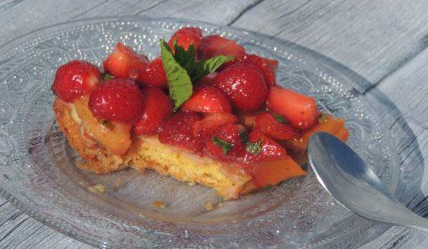 Tarte simplissime aux fraises & pêches - Easiest strawberries & peachs tart