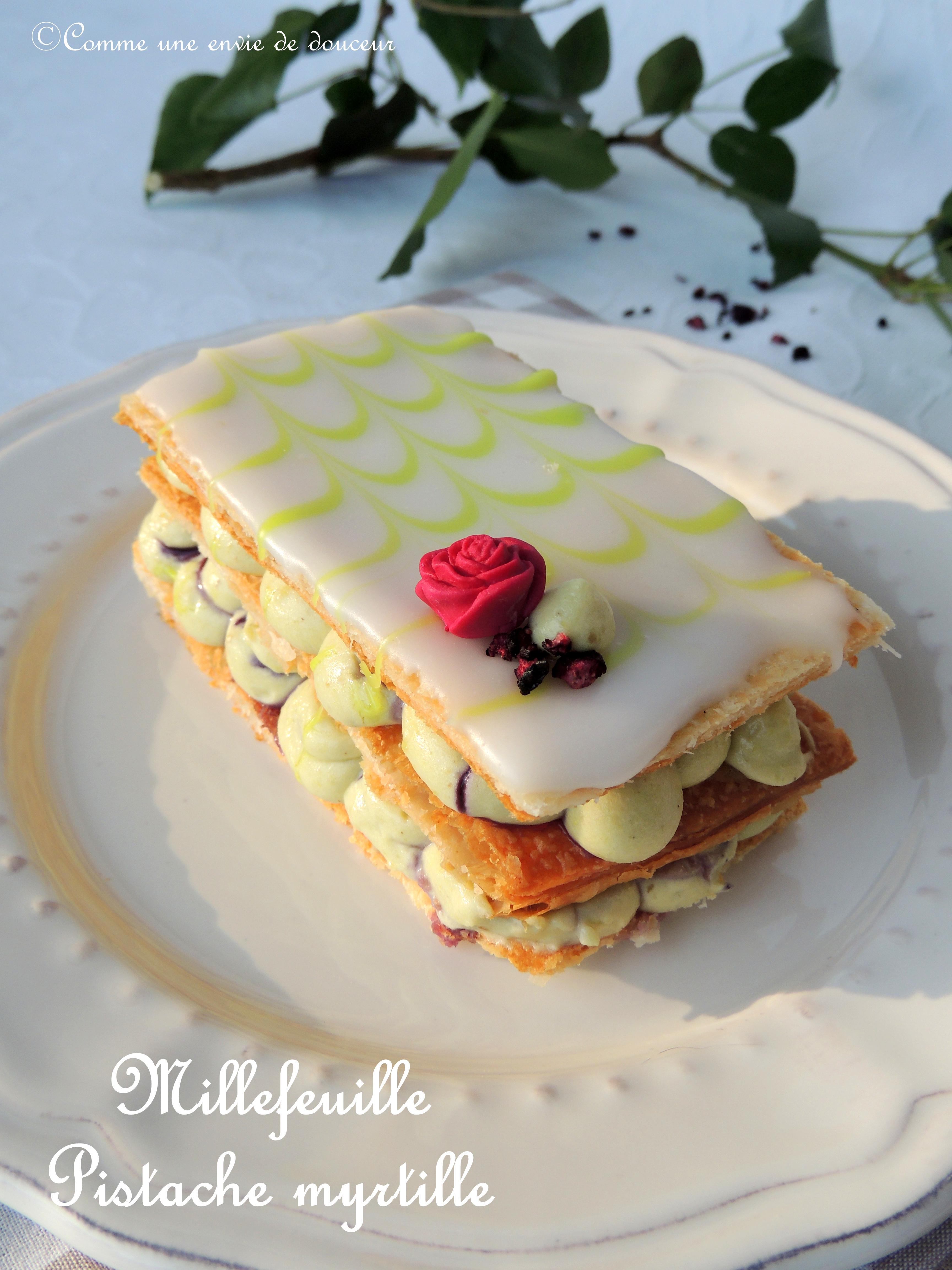 Millefeuille pistache myrtille – Pistachio blueberry millefeuille