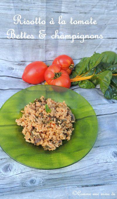 Risotto à la tomate, blettes & champignons – Tomato, chard & mushroom risotto