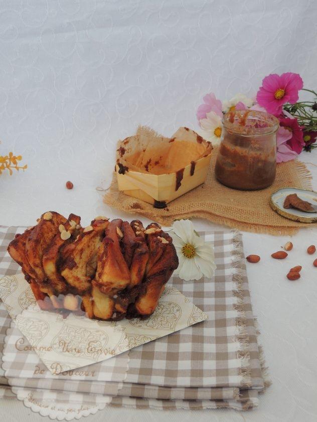 Brioche effilée cacahuète caramel