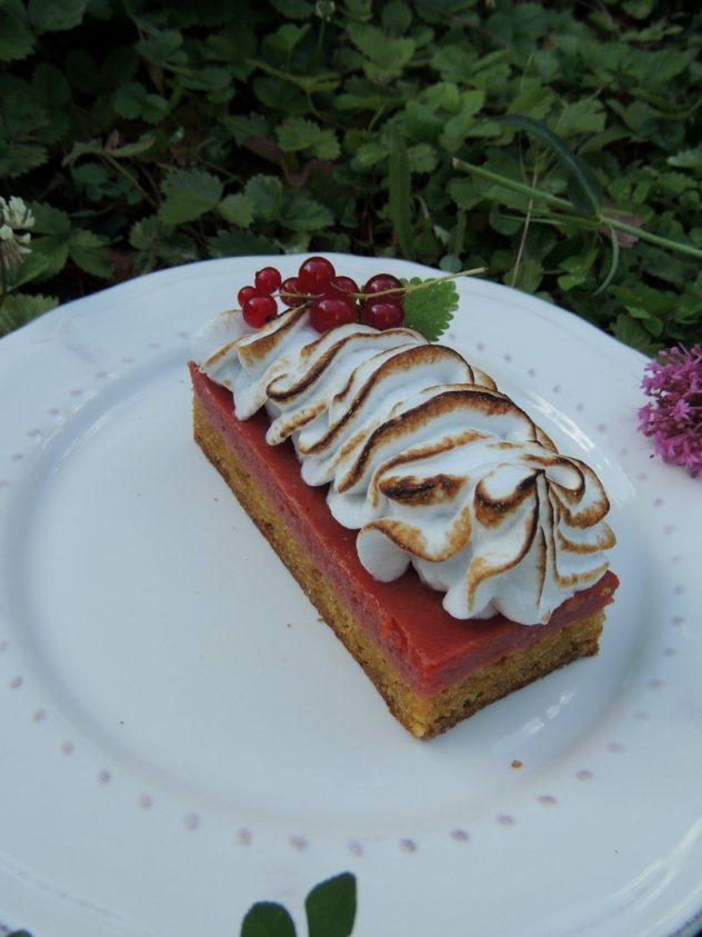 Carrés fondants meringués à la groseille ~ Biscuits redcurrant square & meringue