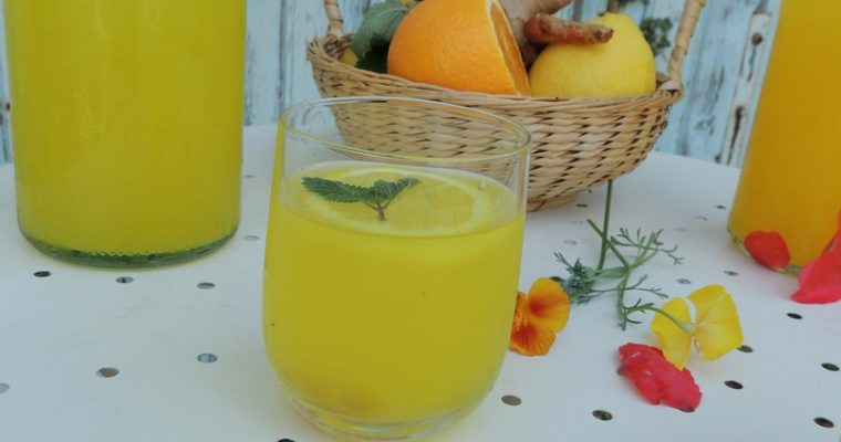 Infusion chaude ou glacée citron curcuma & gingembre ~ Cold or hot lemon, ginger & tumeric infusion
