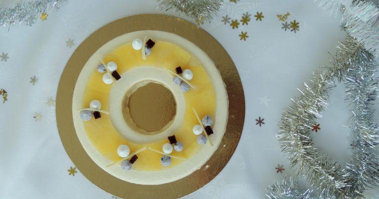 Entremets cassis verveine vanille