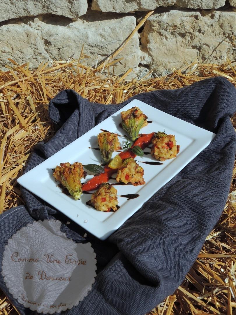 fleurs de Courgettes farcies riz