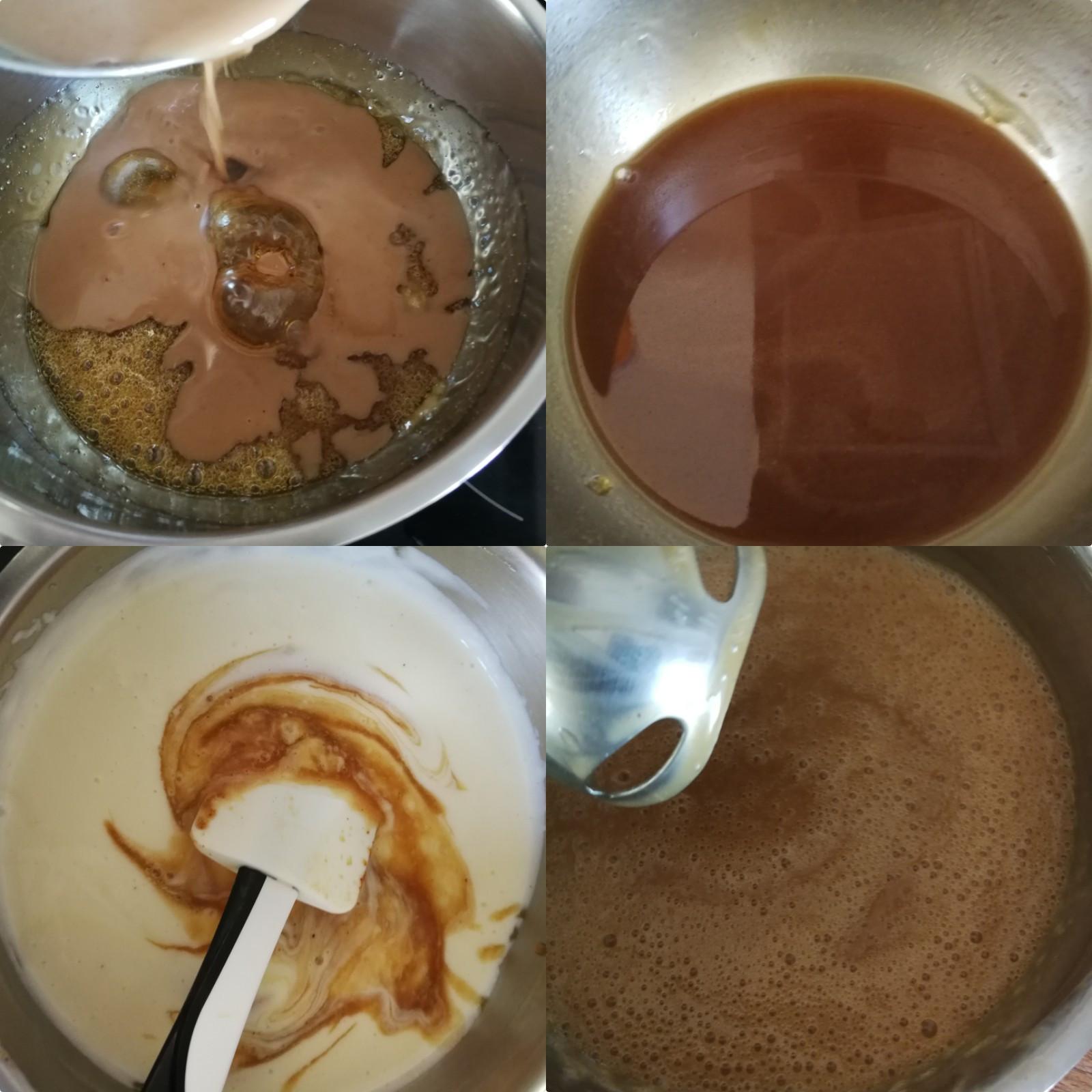 °Tout en remuant au fouet portez le mélange crème fécule à ébullition puis hors du feu ajoutez la gélatine essorée.