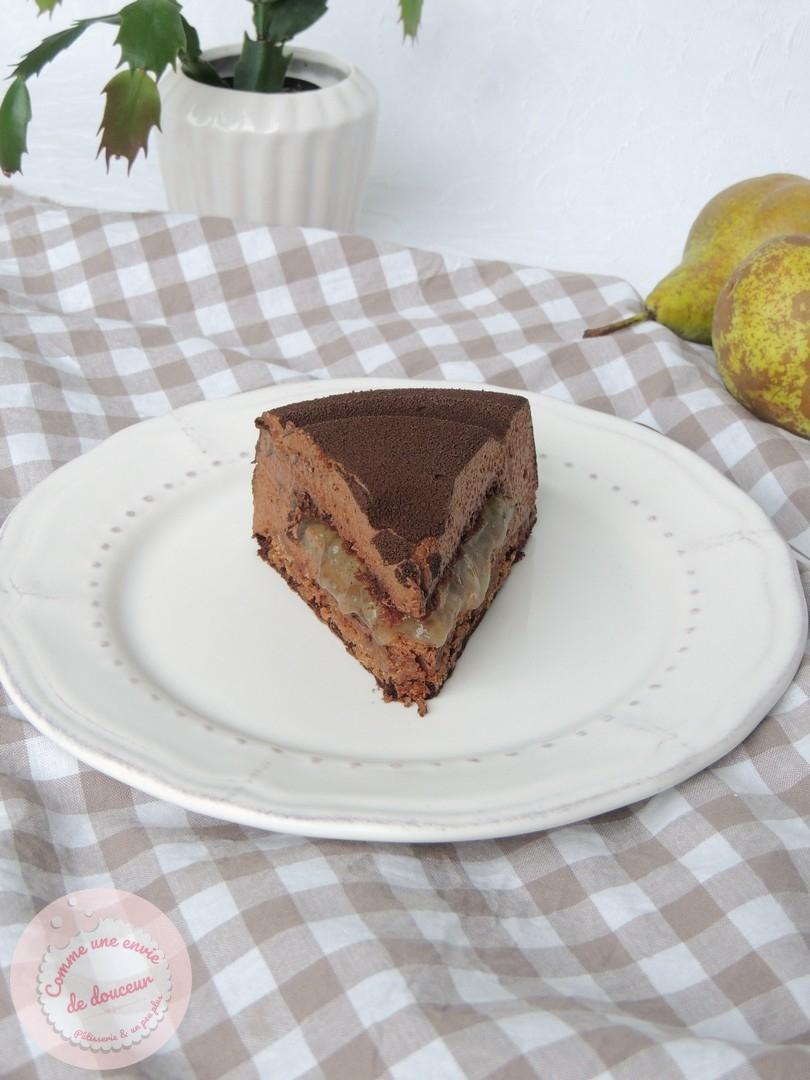 Entremets chocolat poire tonka