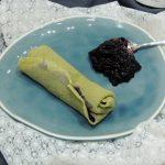Crêpes au thé matcha ~ Confit de myrtilles