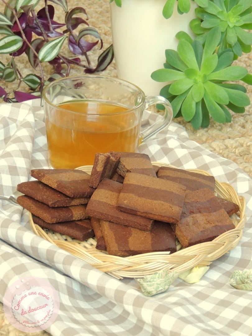 Biscuits striés à la farine de sarrasin & de noisette