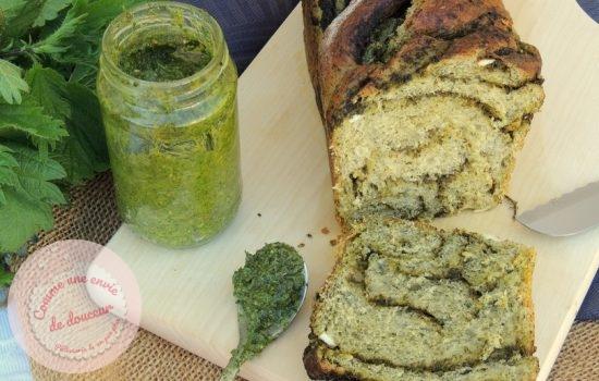 Babka toute verte ~ Pesto d'ortie & feta