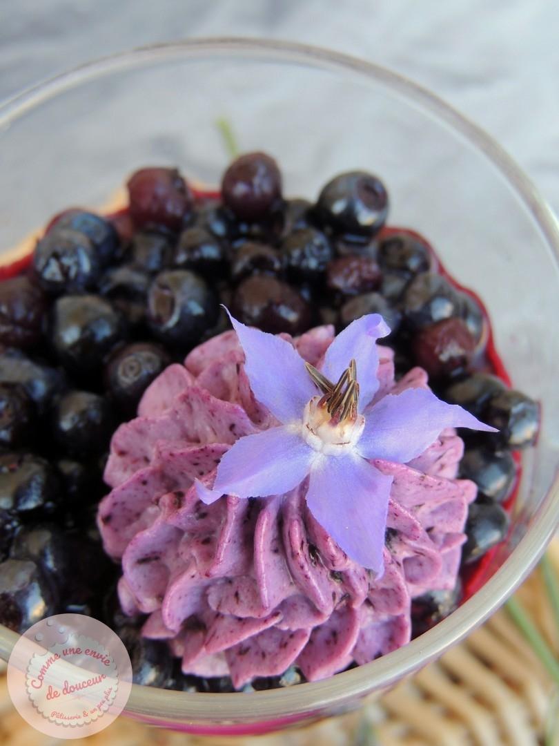 Verrines fruitées ~ Mousse & confit de myrtille sauvage