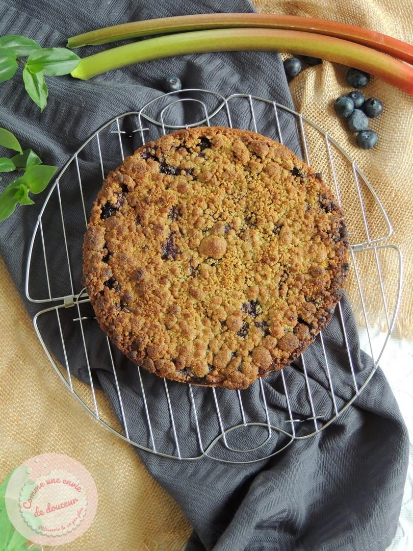 Tarte Rhubarbe Myrtille ~ Crumble Amande