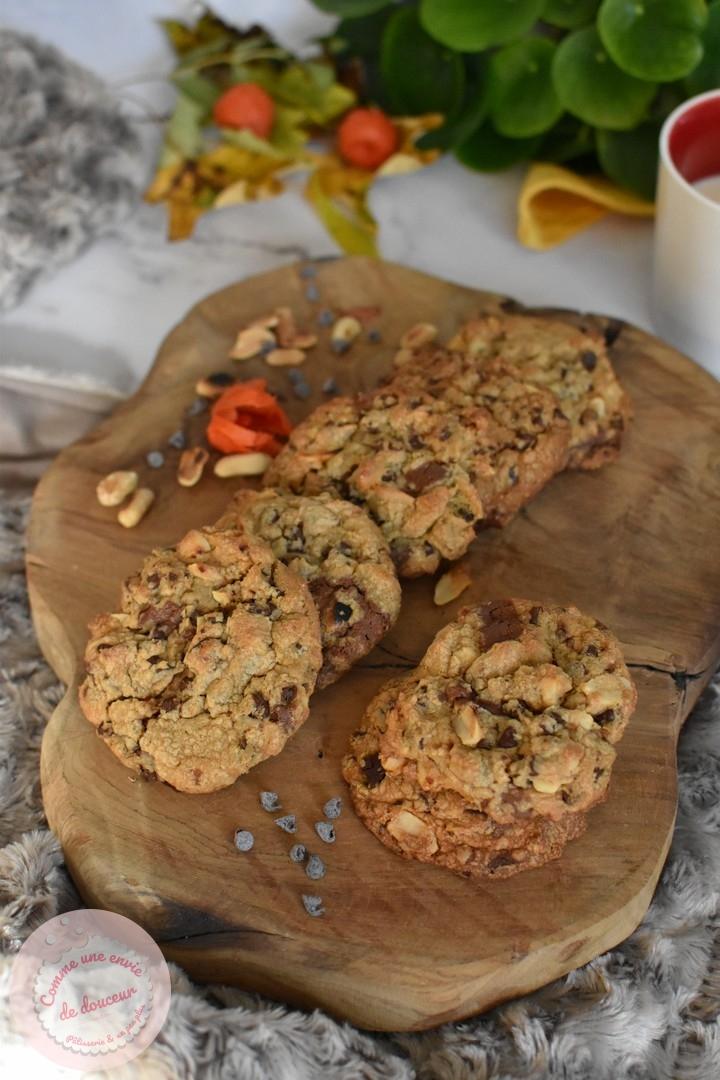Cookies décadents ~ Cacahuète & deux chocolats