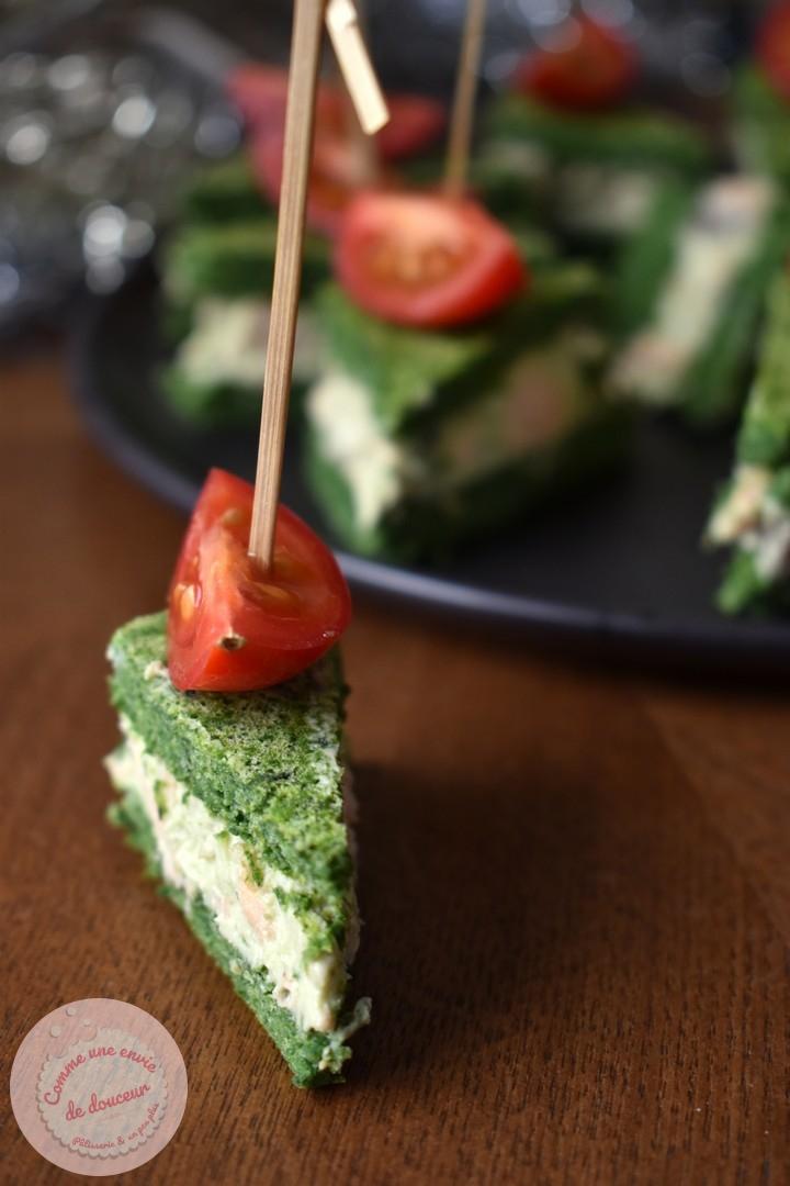 Amuse bouche ~ Club sandwich tout vert saumon avocat