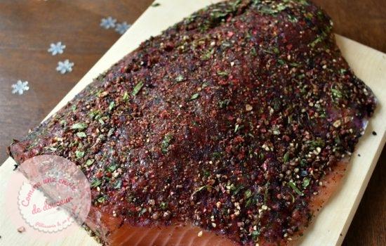 Saumon Gravlax myrtille ~ Chutney & blinis