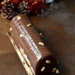 Bûche façon Snickers ~ Chocolat, caramel & cacahuète