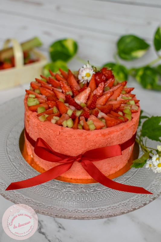 Charlotte printanière ~ Fraise & rhubarbe Mousse fromage blanc