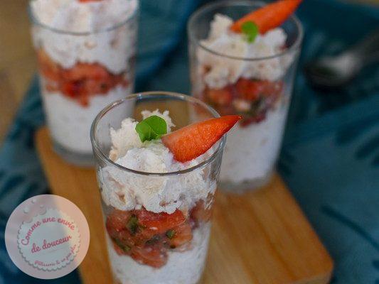 Verrines apéritives ~ Chantilly feta & fraise