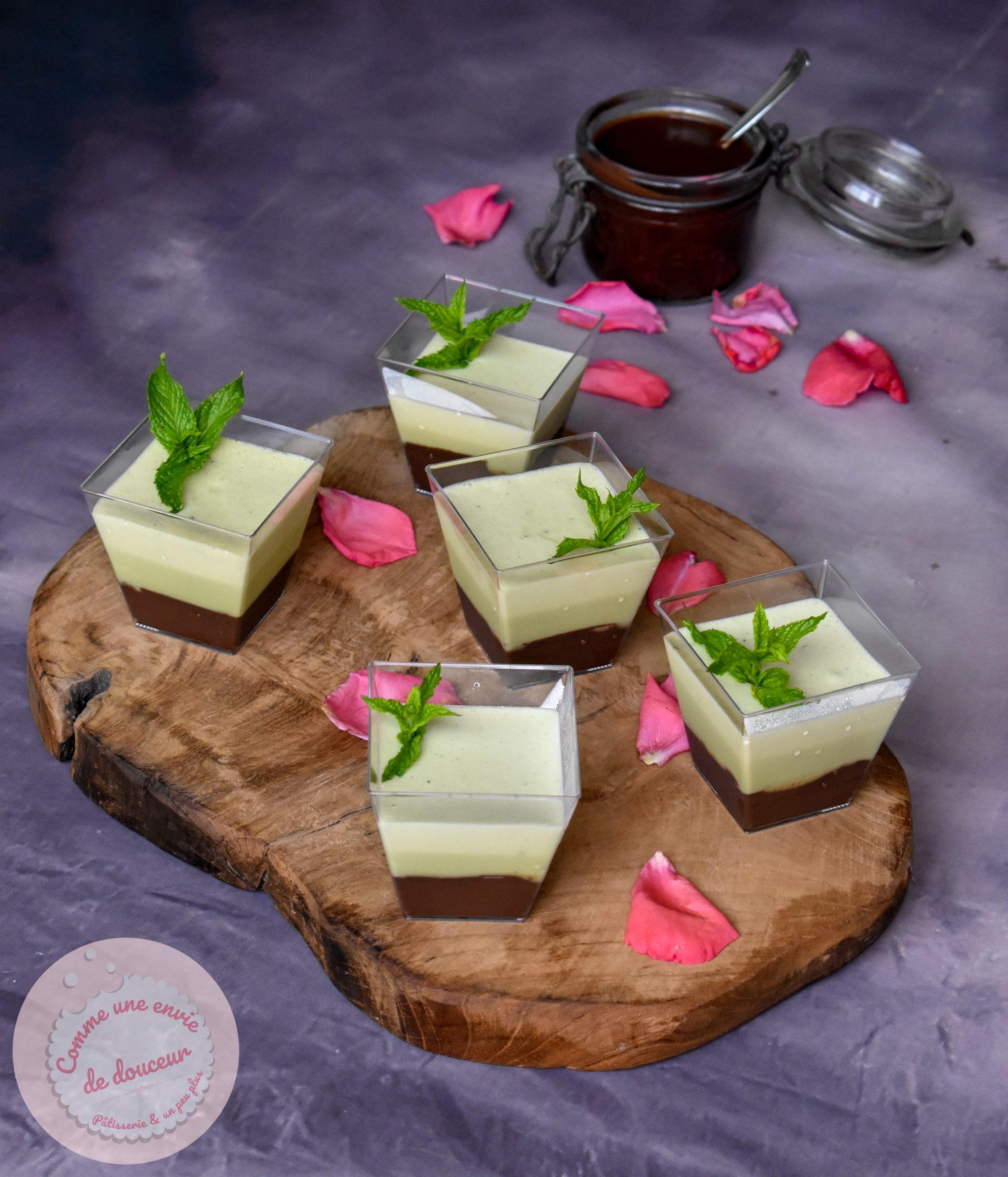 Verrines mousse menthe ~ Coulis de chocolat noir