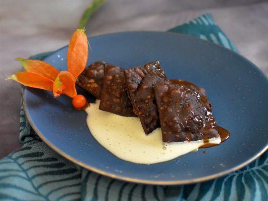 Ravioles croustillantes au chocolat ~ Sabayon au vieux rhum