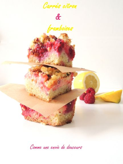 Lemon & raspberries crumble bars (barres citron & framboises façon crumble)