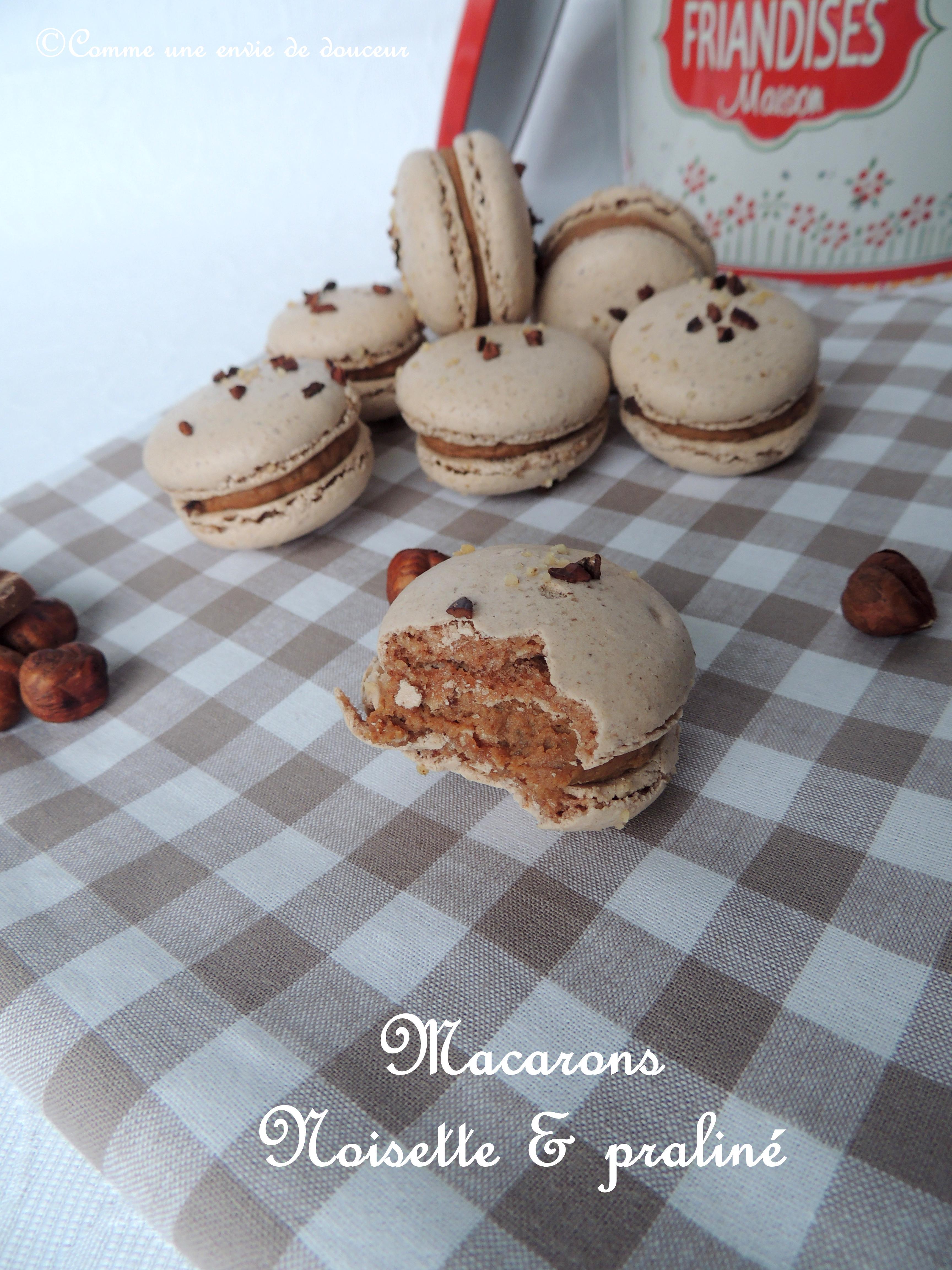 Macarons noisette, ganache praliné – Hazelnut and praliné macarons