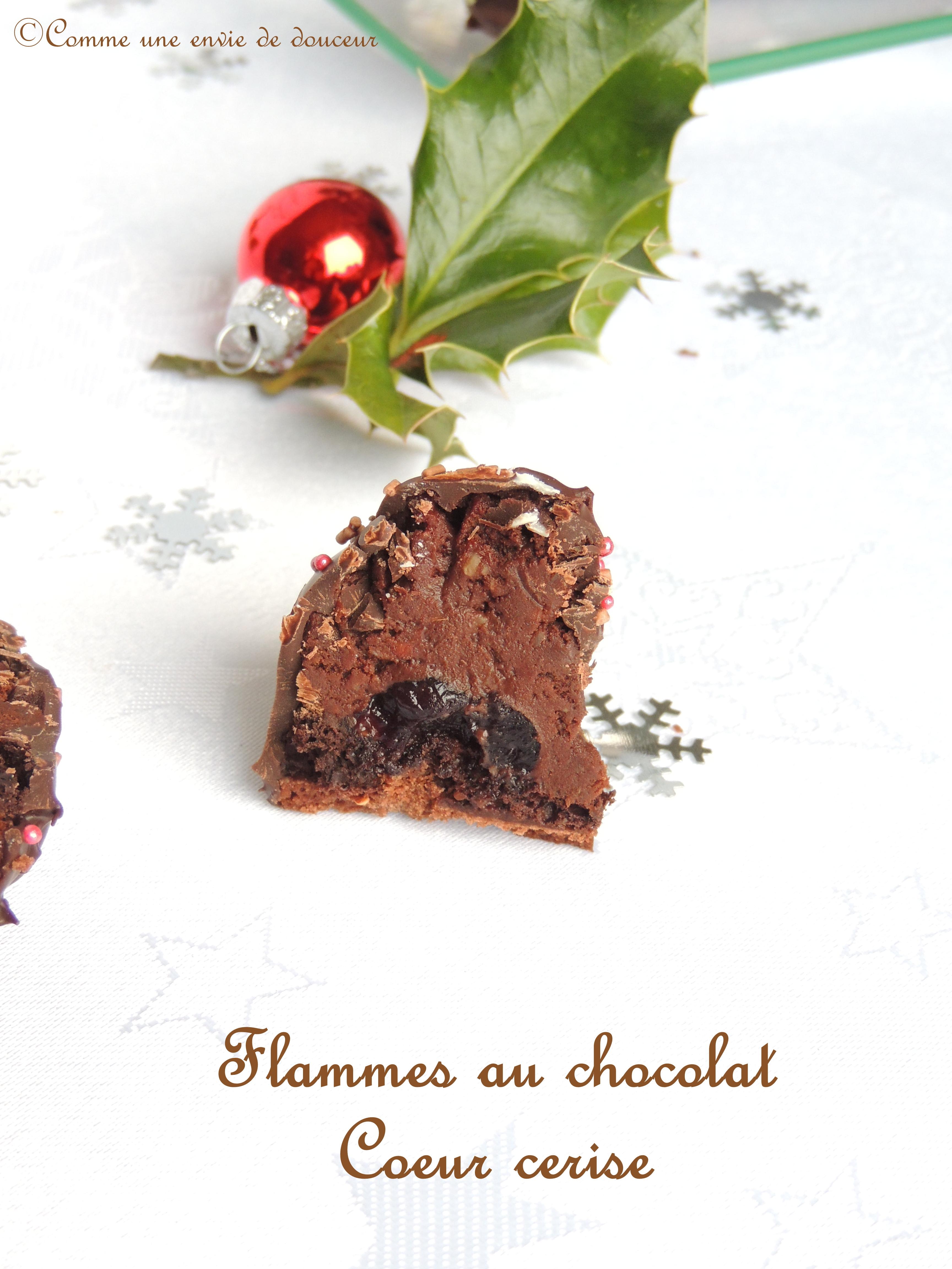Flammes au chocolat cœur cerise amarena- Chocolate & cherry flames