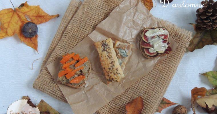 Foodista Challenge #34 Trio de tartines automnales – Fall's flavors toasts