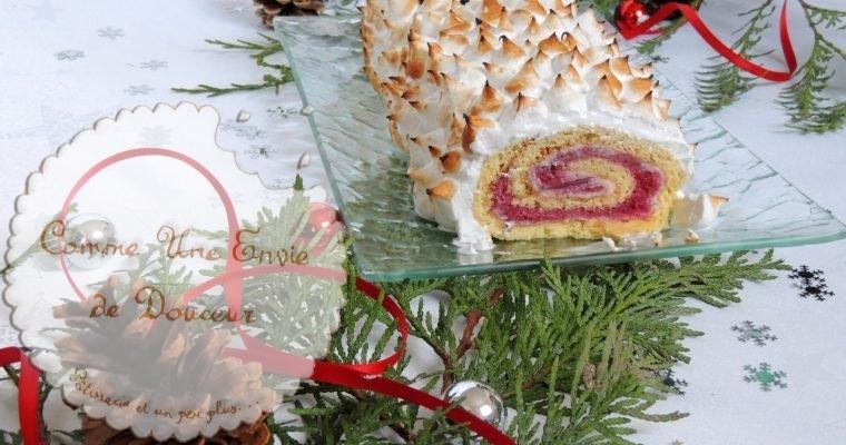 Bûche mûre & chocolat blanc meringuée – Blackberry & white chocolate meringue log