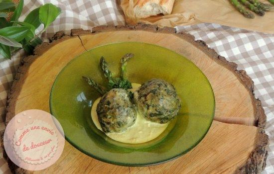 Canederli à ail des ours ~ Crème d'asperge verte & feta