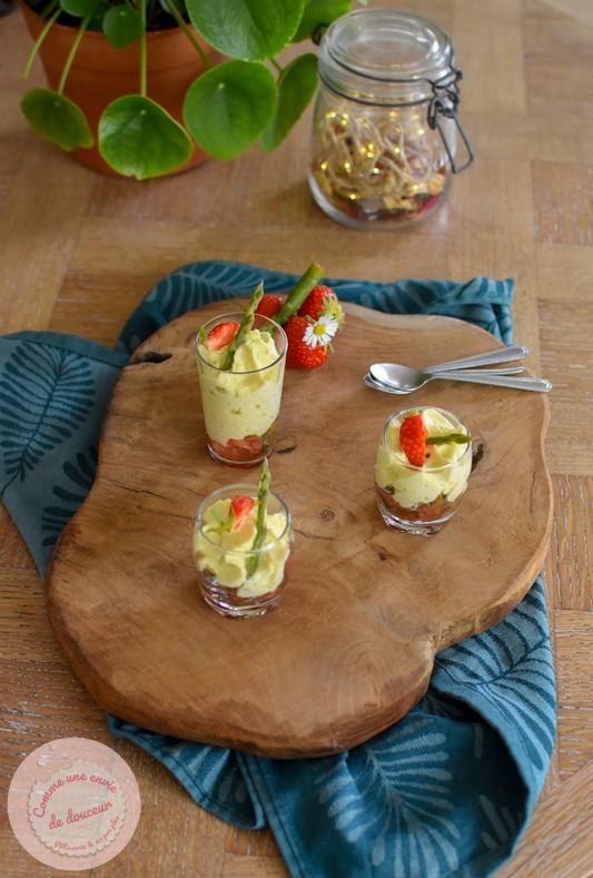 Verrines apéritives ~ Mousse d'asperge verte & fraise avec ou sans siphon