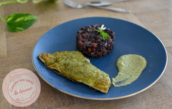 Dorade viennoise ail des ours ~ Riz noir et crème de petit pois fenouil