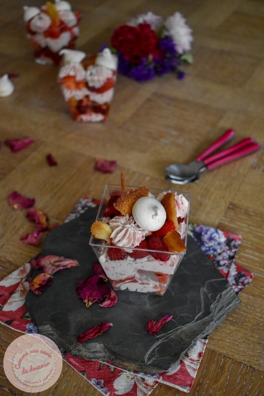 Verrines framboise ~ Façon Eton mess